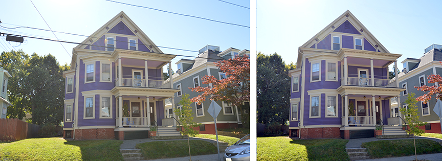 Real Estate is another area where retouching can add to the salability of a particular property. This home on Ontario Street in Providence was sharpened, color corrected, cropped and the utility wires were deleted.