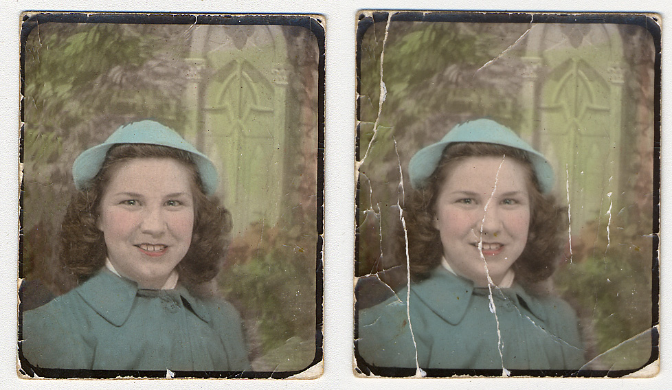 This is a shot of my mom when she was just a young girl. The restoration included some image sharpening and retouching. Some of the damage was left in the image to retain its aesthetic character.